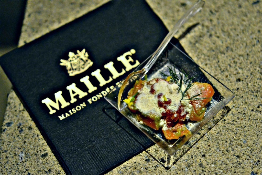 Napkins for the mobile Maille Mustard Bar created by Atlas Merchandise. (Photo by The Sensual Foodie)