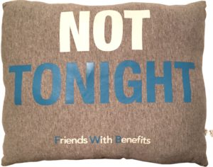 Friends with Benefits pillow (side A)